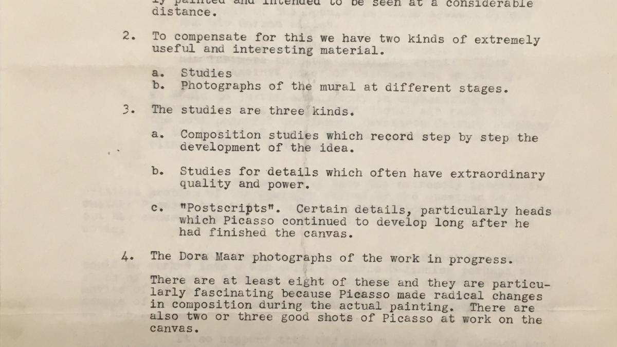 Alfred H. Barr Jr.'s notes for the screenplay of the film Guernica by Robert Flaherty