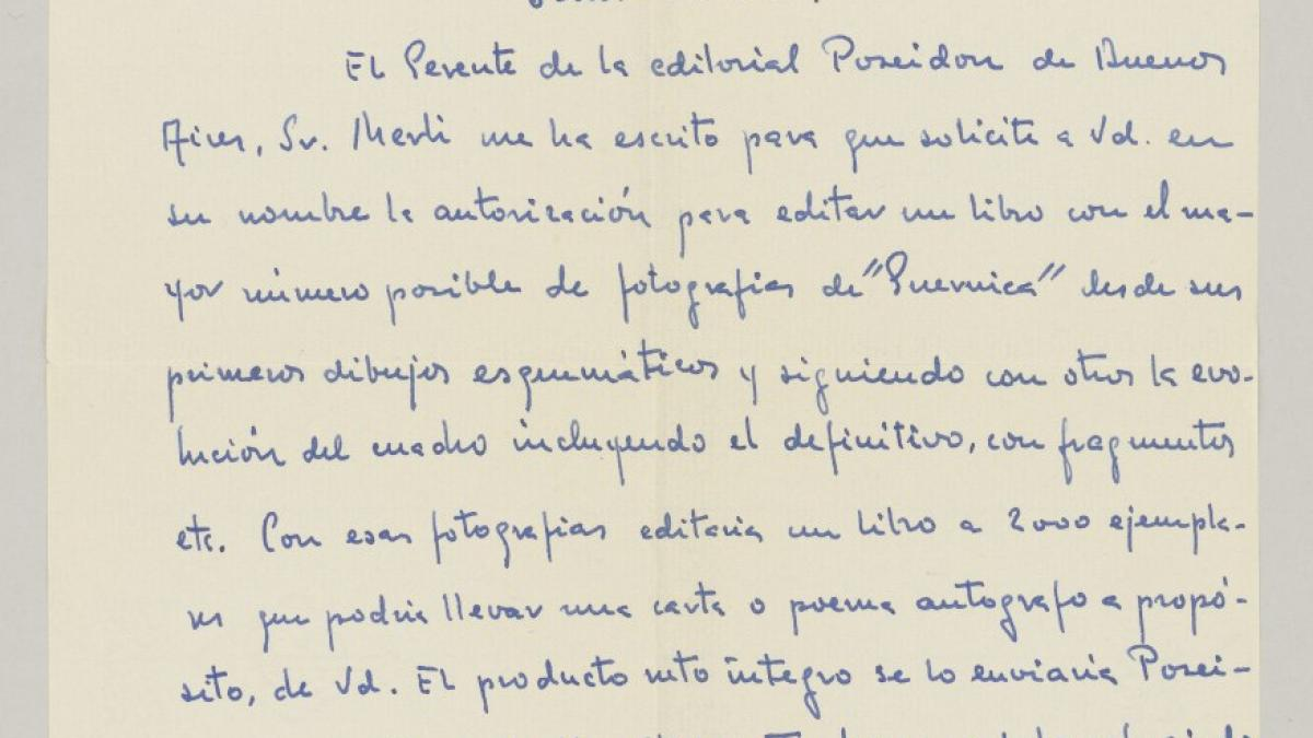 A. Robles's letter to Pablo Picasso