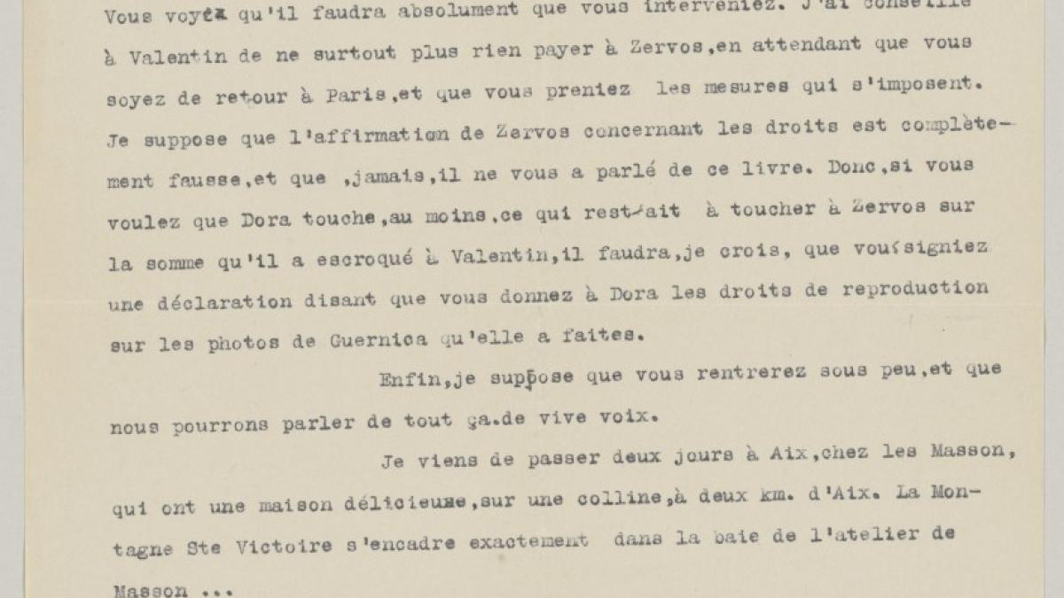 Carta de Daniel-Henry Kahnweiler a Pablo Picasso del 5 de noviembre de 1947