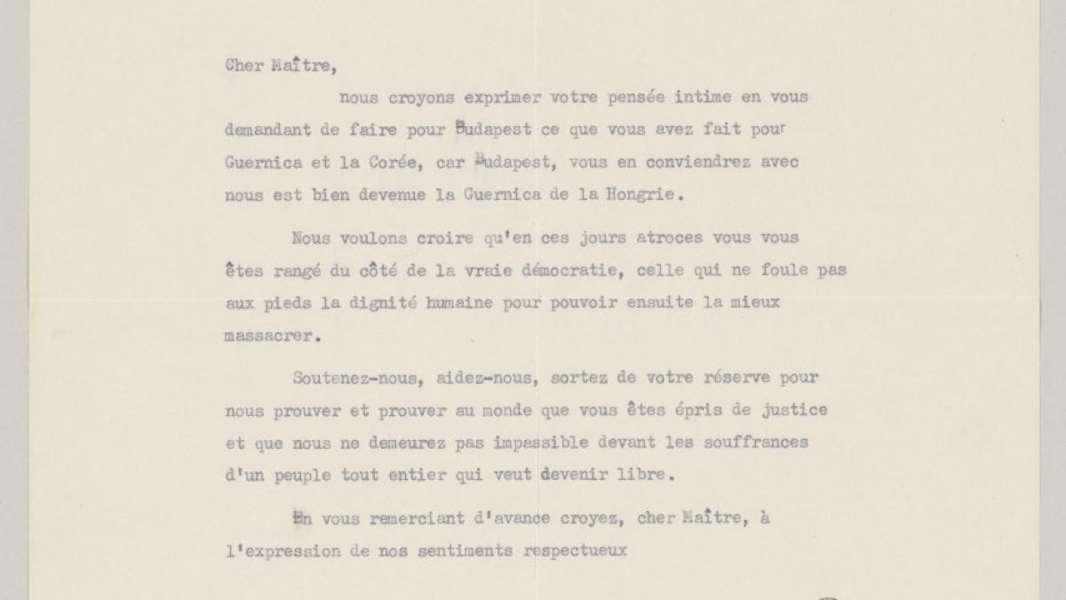 Carta de J. Groham y T. Madden a Pablo Picasso