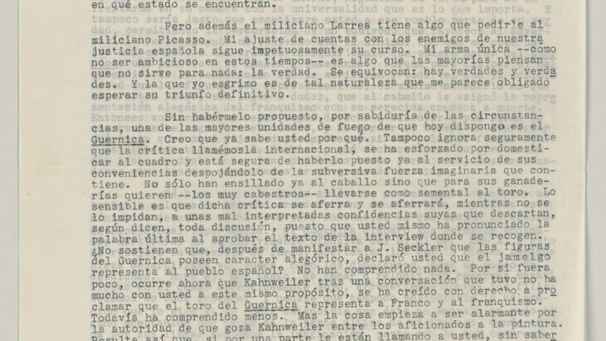 Carta de Juan Larrea a Pablo Picasso del 6 de septiembre de 1947