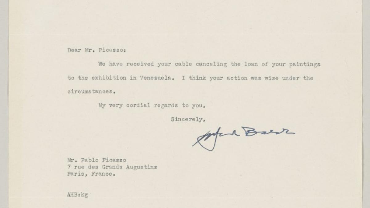 Carta de Alfred H. Barr Jr. a Pablo Picasso del 3 de diciembre de 1948