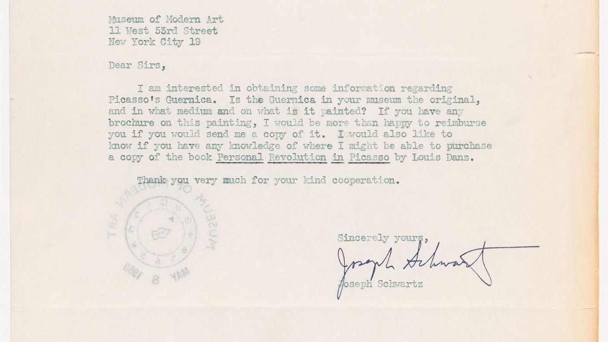Carta de Joseph Schwartz al Museum of Modern Art de Nueva York
