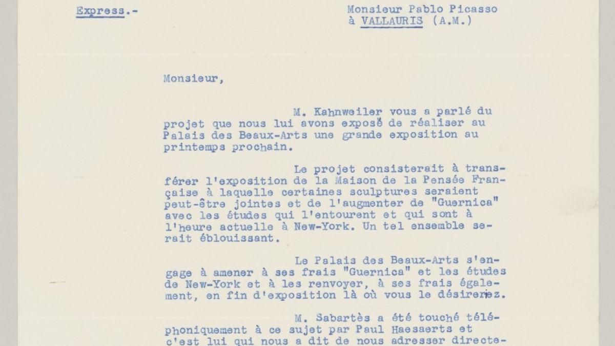 Carta de Robert Giron a Pablo Picasso