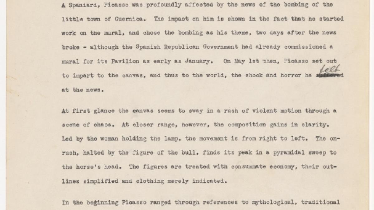 Borrador de cartela para la exposición Studies for Guernica organizada por el Museum of Art de Nueva York