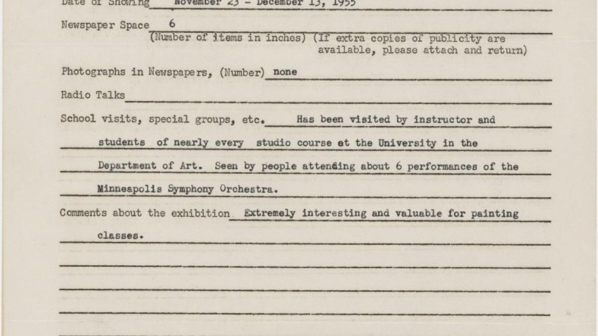 Publicity report for the exhibition Studies for Guernica by the University of Minnesota Gallery, addressed to the Travelling Exhibitions Department at the Museum of Modern Art, New York
