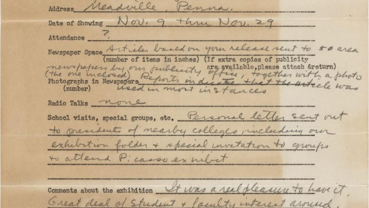 Informe de impacto de público de la exposición Studies for Guernica del Allegheny College, Meadville, Pensilvania