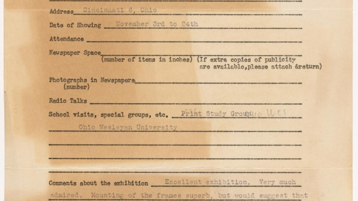 Publicity report for the exhibition Studies for Guernica by the Cincinnati Art Museum, addressed to the Travelling Exhibitions Department at the Museum of Modern Art, New York