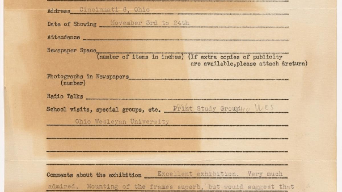 Informe de publicidad de la exposición Studies for Guernica del Cincinnati Art Museum