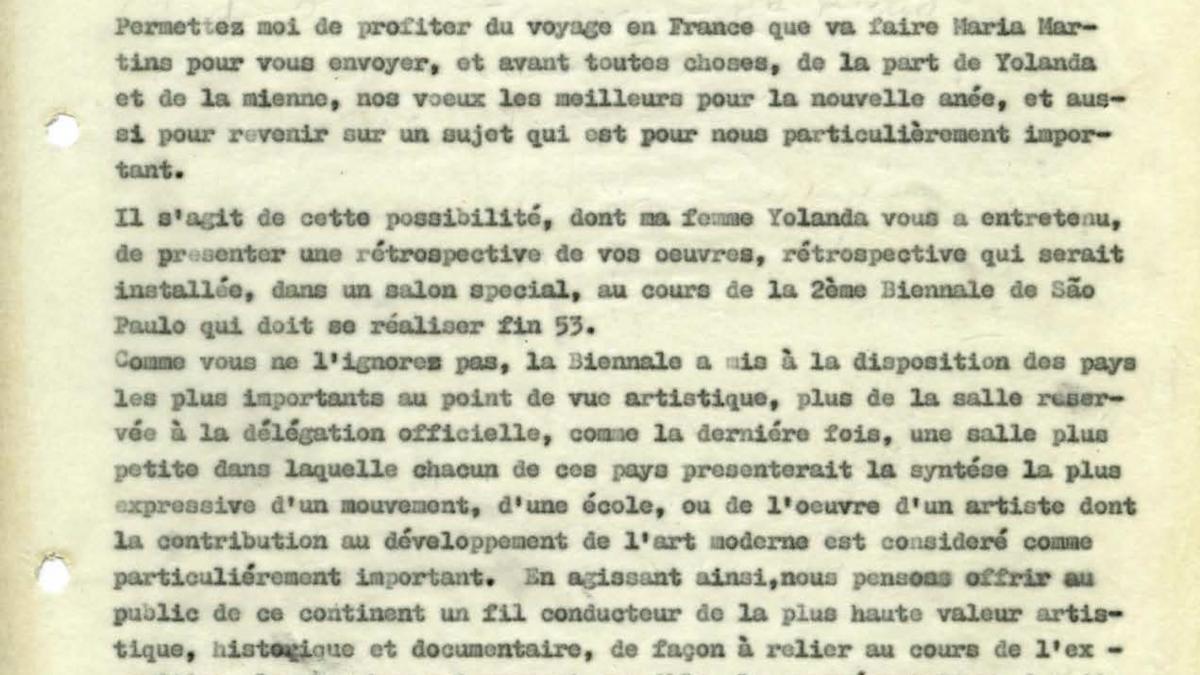Carta de Francisco Matarazzo Sobrinho a Pablo Picasso del 26 de diciembre de 1952