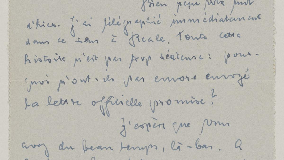 Carta de Daniel-Henry Kahnweiler a Pablo Picasso del 13 de diciembre de 1952