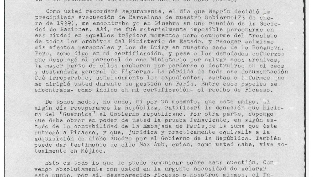 Carta de Julio Álvarez del Vayo a Luis Araquistáin