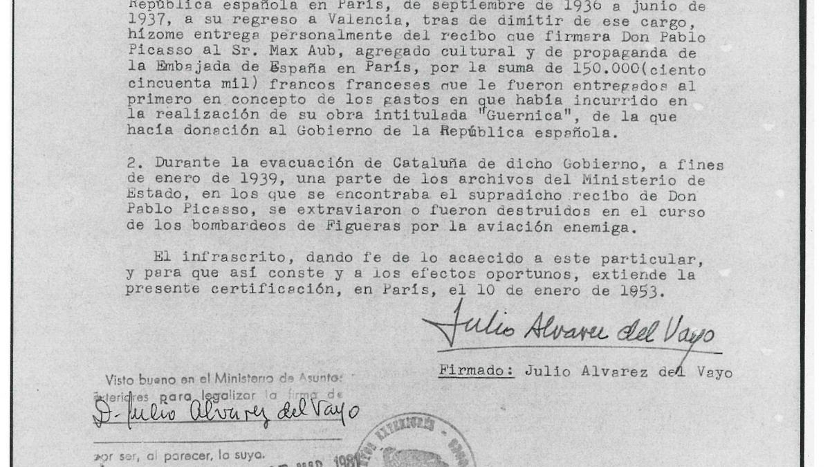 Certification from Julio Álvarez del Vayo