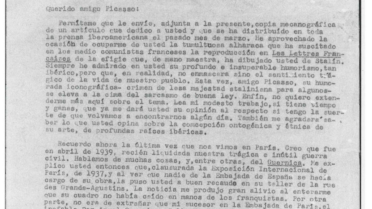 Carta de Luis Araquistáin a Pablo Picasso