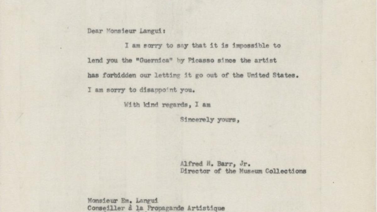 Carta de Alfred H. Barr Jr. a Emile Langui