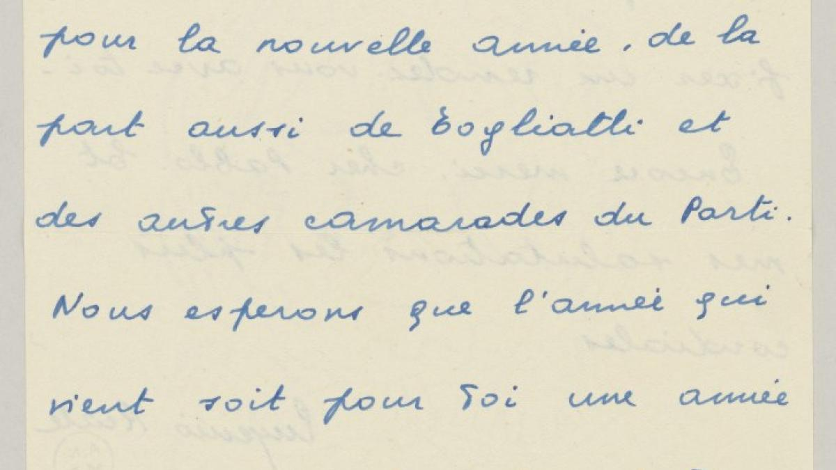 Carta de Eugenio Reale a Pablo Picasso del 1 de enero de 1954