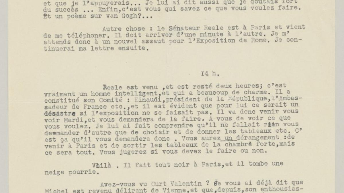 Daniel-Henry Kahnweiler's letter to Pablo Picasso, dated 3 January 1953
