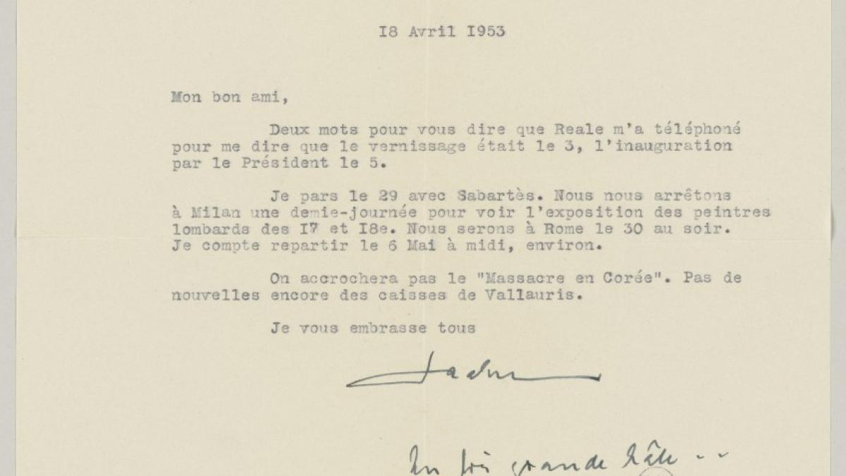 Daniel-Henry Kahnweiler's letter to Pablo Picasso, dated 18 April 1953