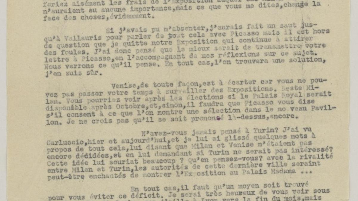 Daniel-Henry Kahnweiler's letter to Eugenio Reale