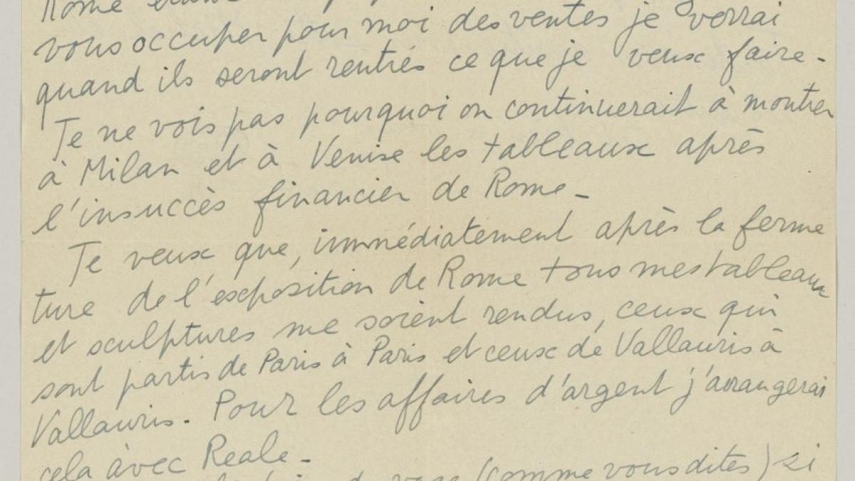 Carta de Pablo Picasso a Daniel-Henry Kahnweiler del 7 de junio de 1953