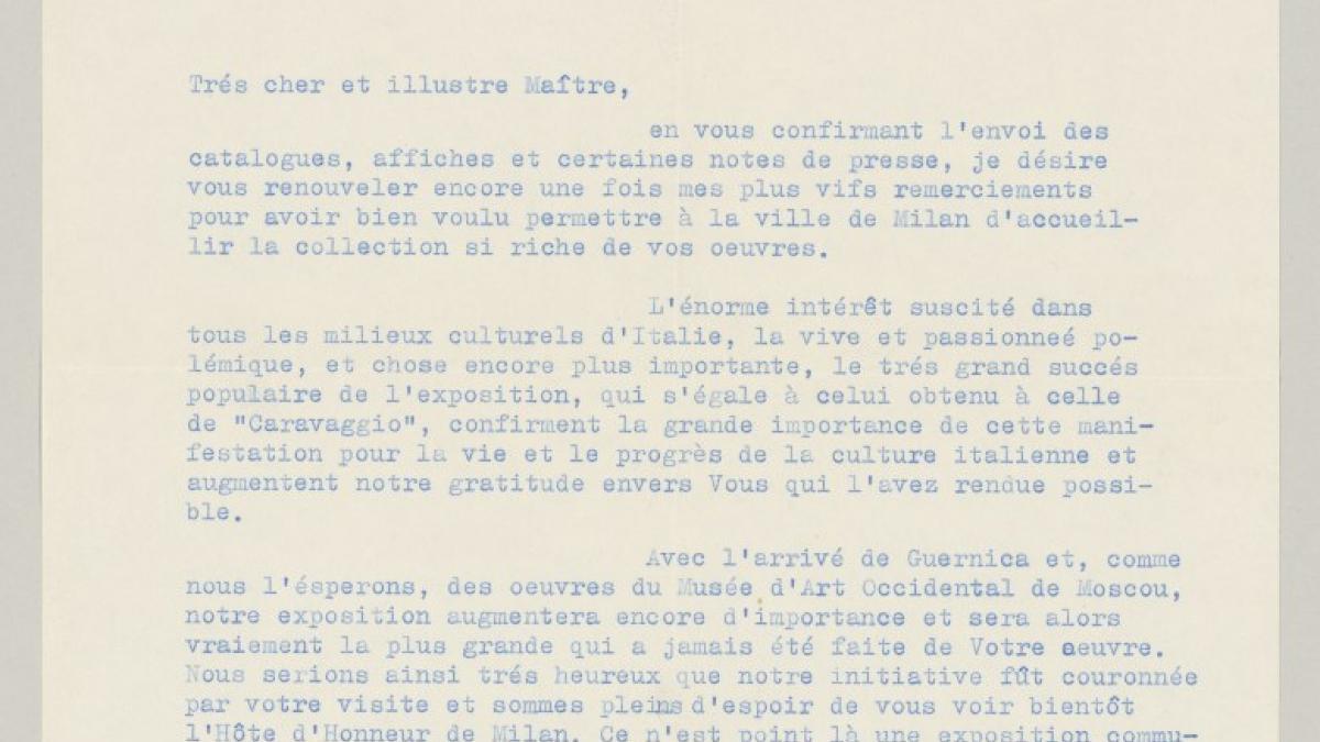Carta de Paolo D'Ancona a Pablo Picasso