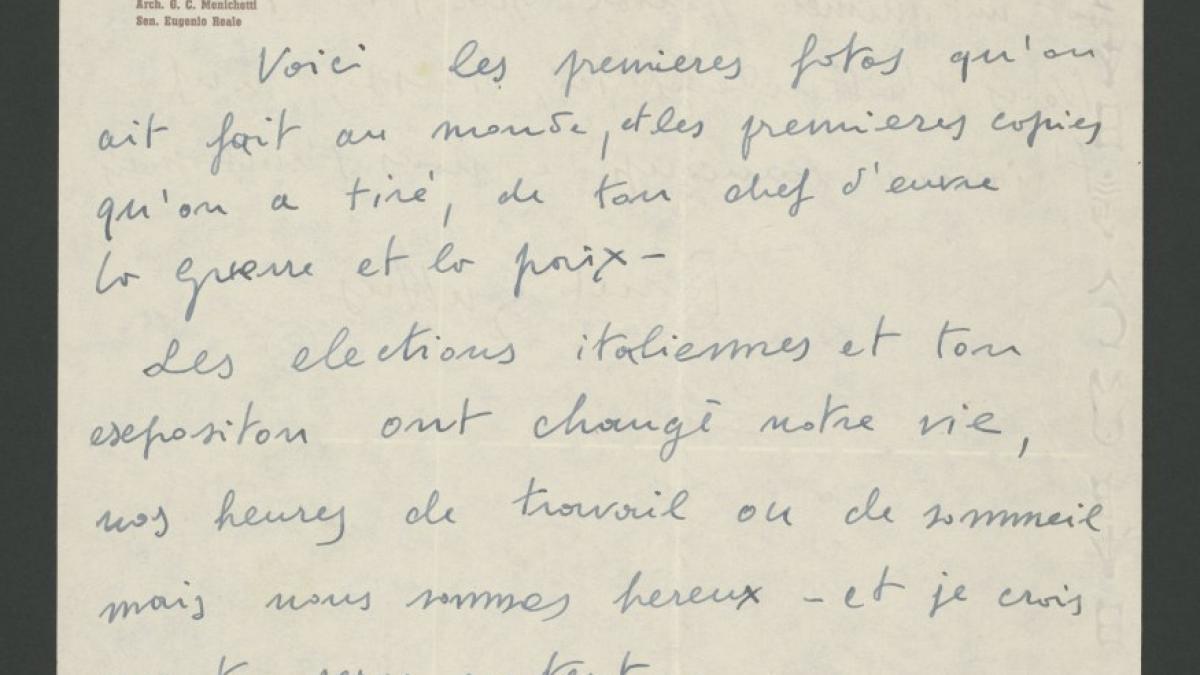 Carta de Renato Guttuso a Pablo Picasso