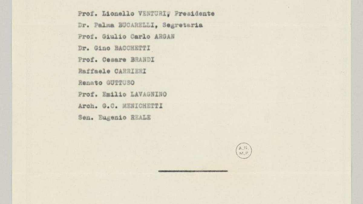 Listados del Comité Ejecutivo Nacional y otros departamentos para las exposiciones de Roma y Milán