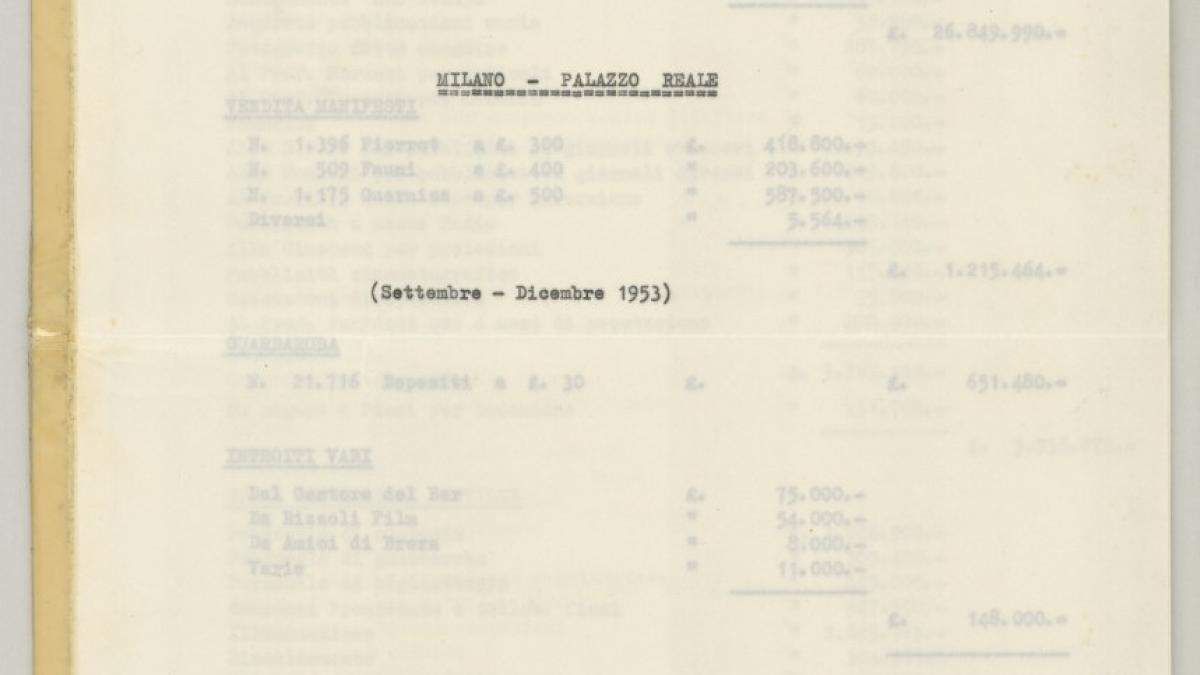 An expense inventory for the Pablo Picasso exhibition at the Palazzo Reale