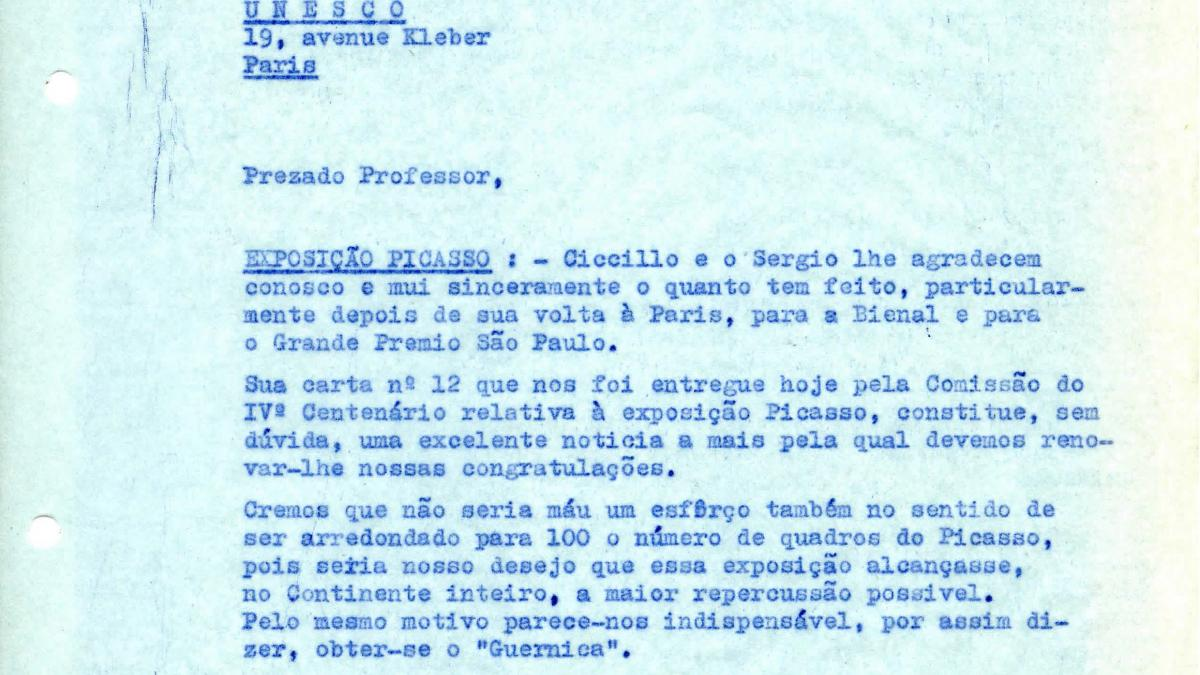 Arturo Profili's letter to Paulo E. de Berrêdo Carneiro, dated 4 March 1953