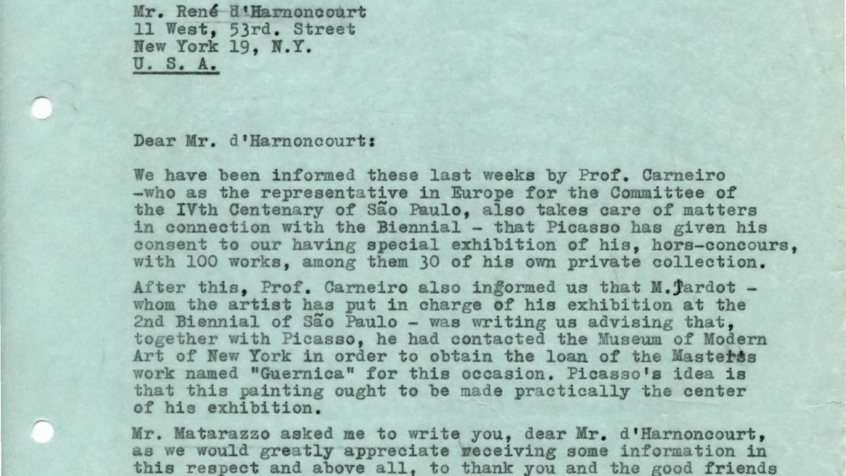 Arturo Profili's letter to René d'Harnoncourt