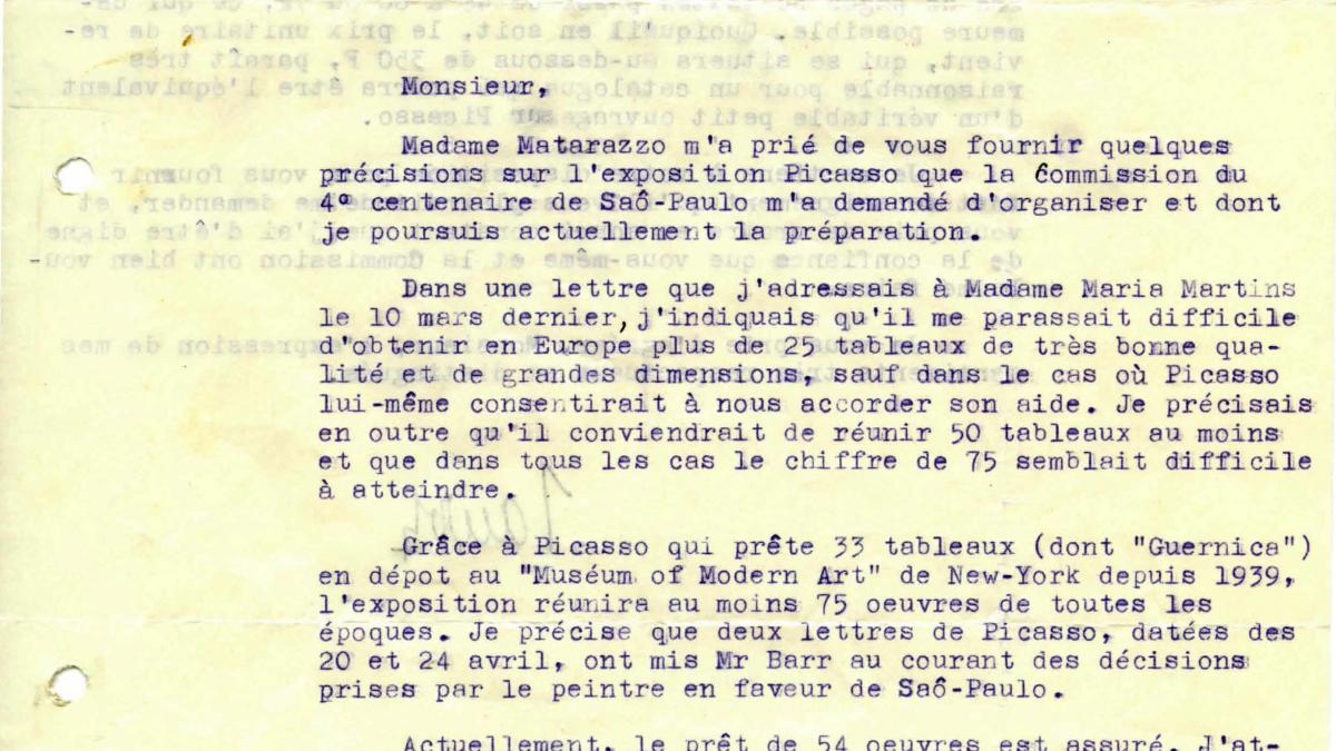 Maurice Jardot's letter to Francisco Matarazzo Sobrinho