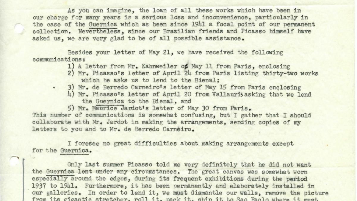 Carta de Alfred H. Barr Jr. a Arturo Profili