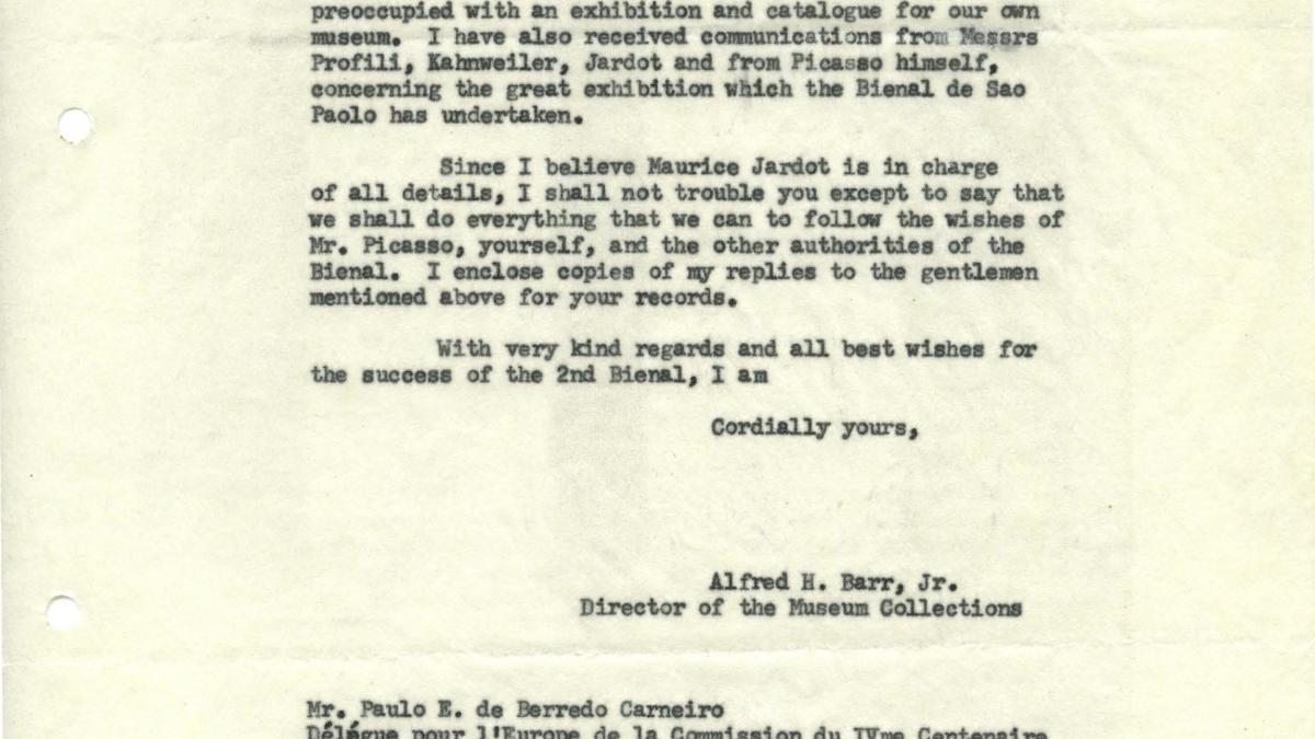 Carta de Alfred H. Barr Jr. a Paulo E. de Berrêdo Carneiro