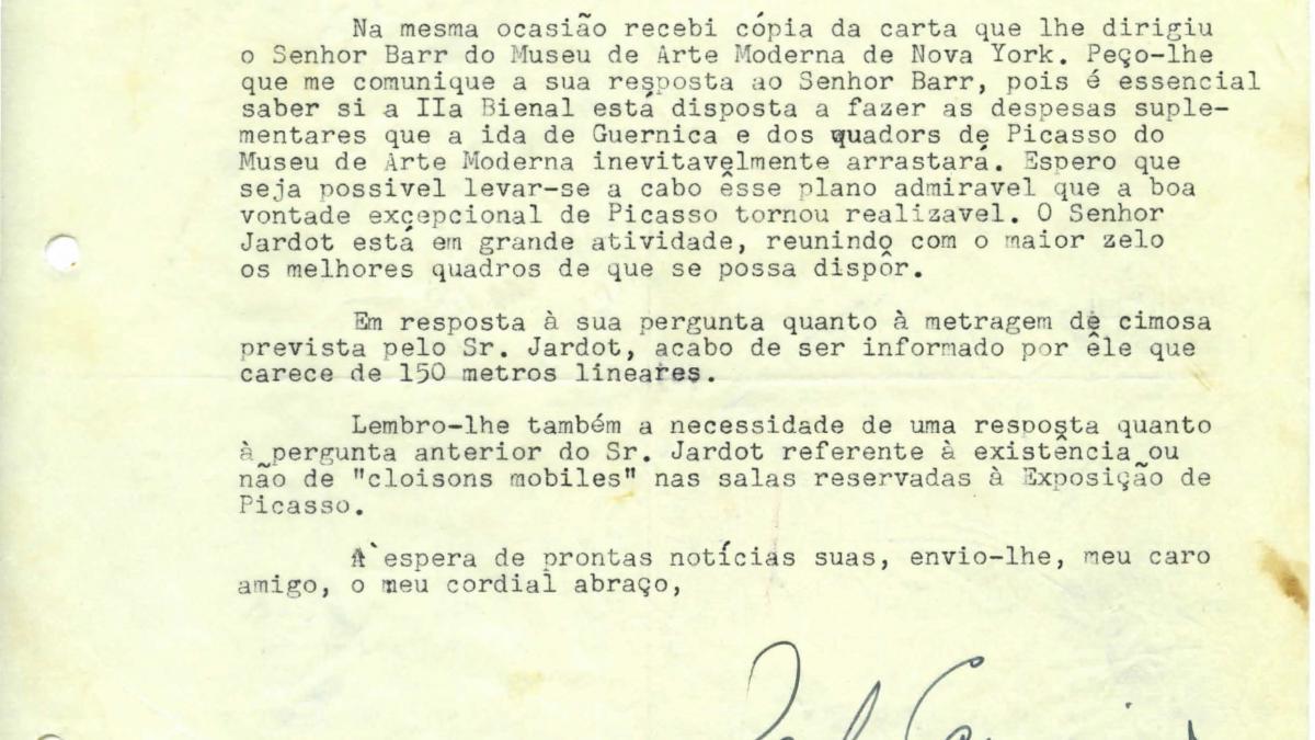 Carta de Paulo E. de Berrêdo Carneiro a Arturo Profili