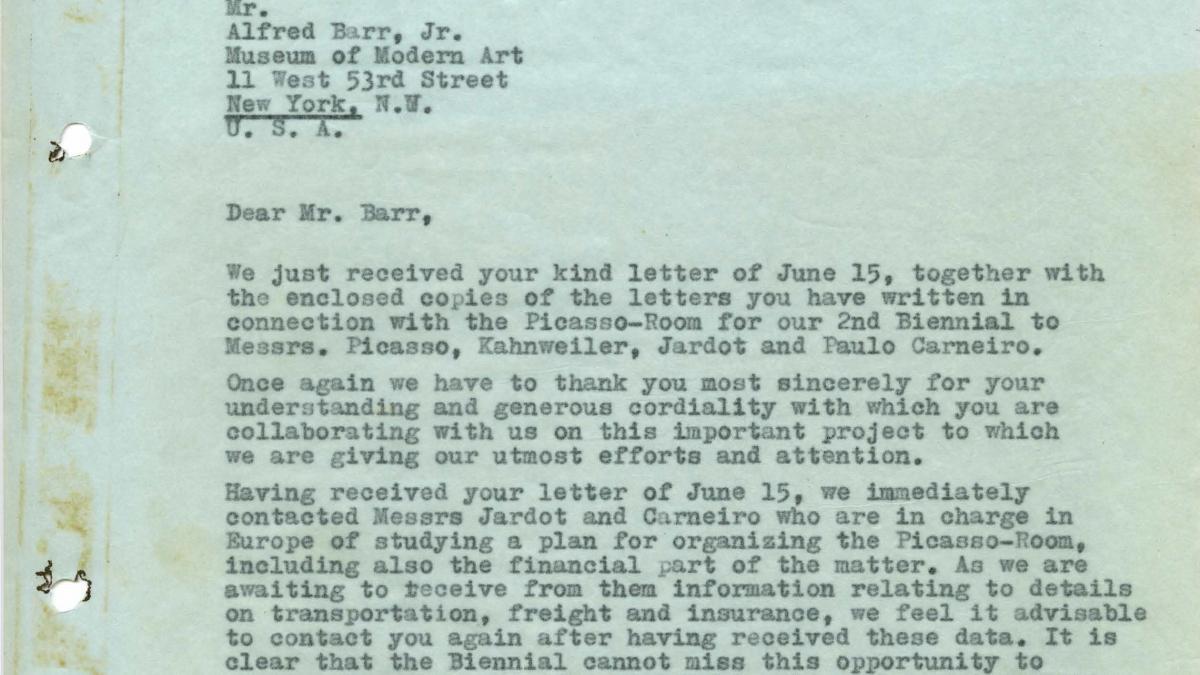 Carta de Arturo Profili a Alfred H. Barr Jr.