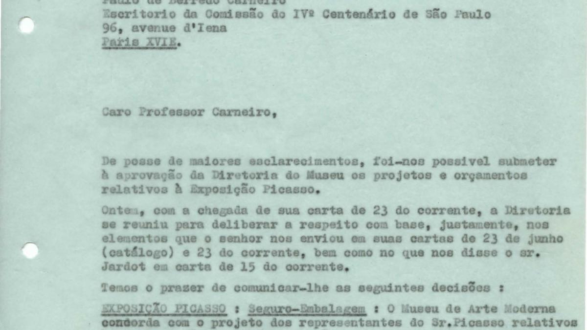 Carta de Arturo Profili a Paulo E. de Berrêdo Carneiro del 3 de agosto de 1953