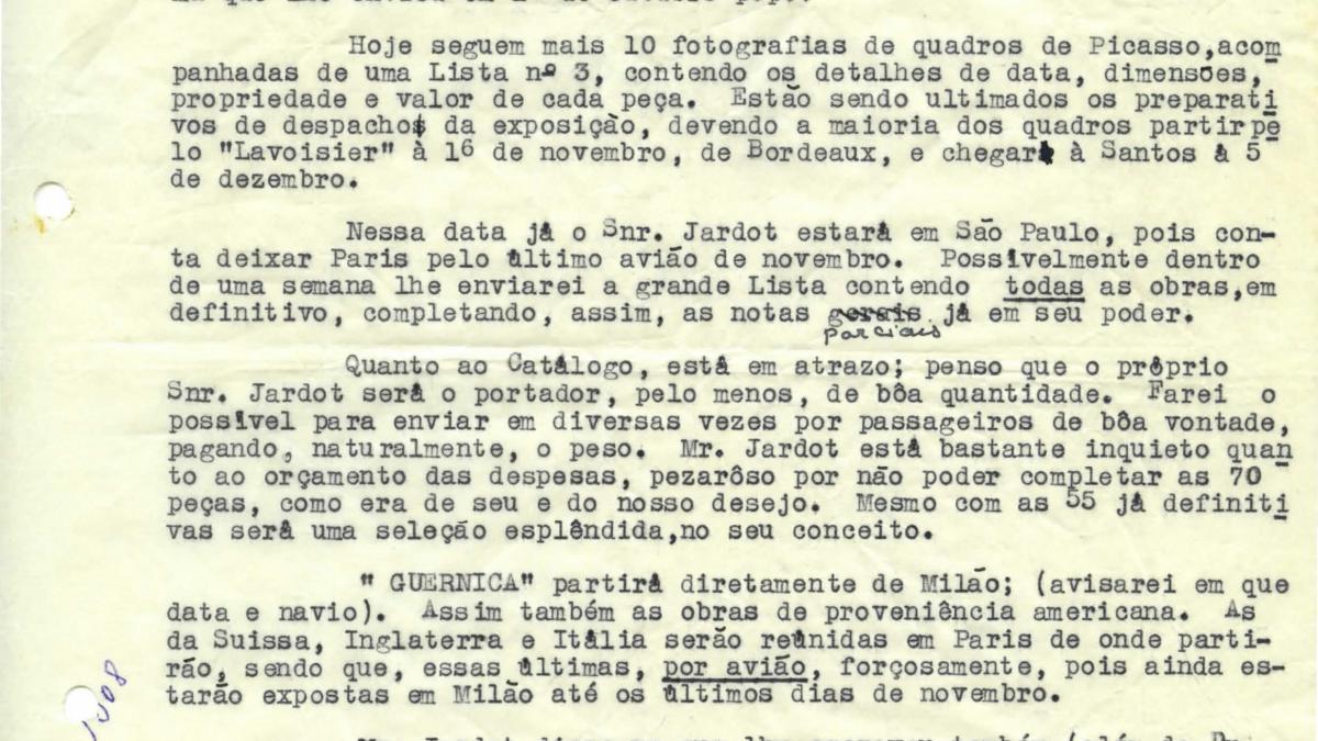 Carta de Maria Oliva Fraga a Arturo Profili del 28 de octubre de 1953