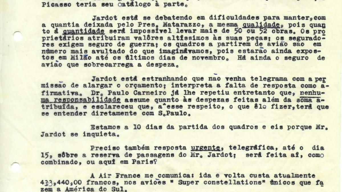 Carta de Maria Oliva Fraga a Arturo Profili del 5 de noviembre de 1953