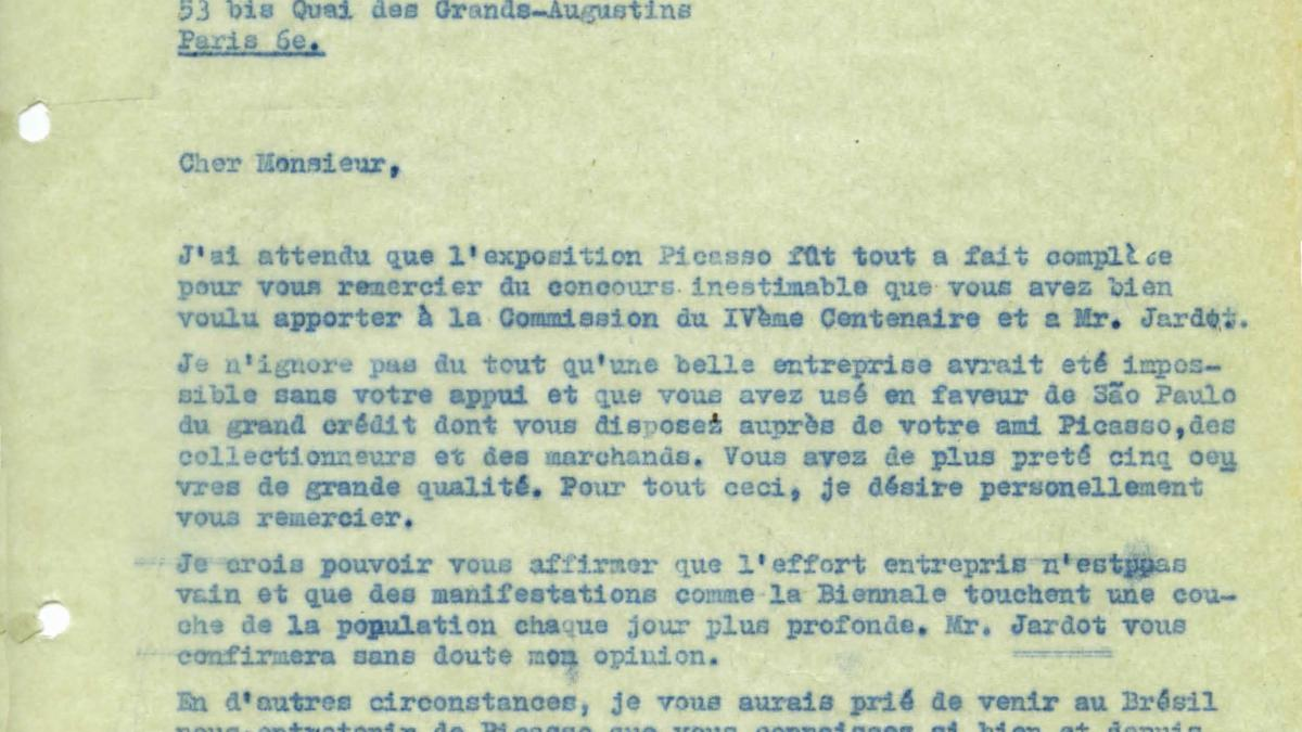 Carta de Francisco Matarazzo Sobrinho a Daniel-Henry Kahnweiler