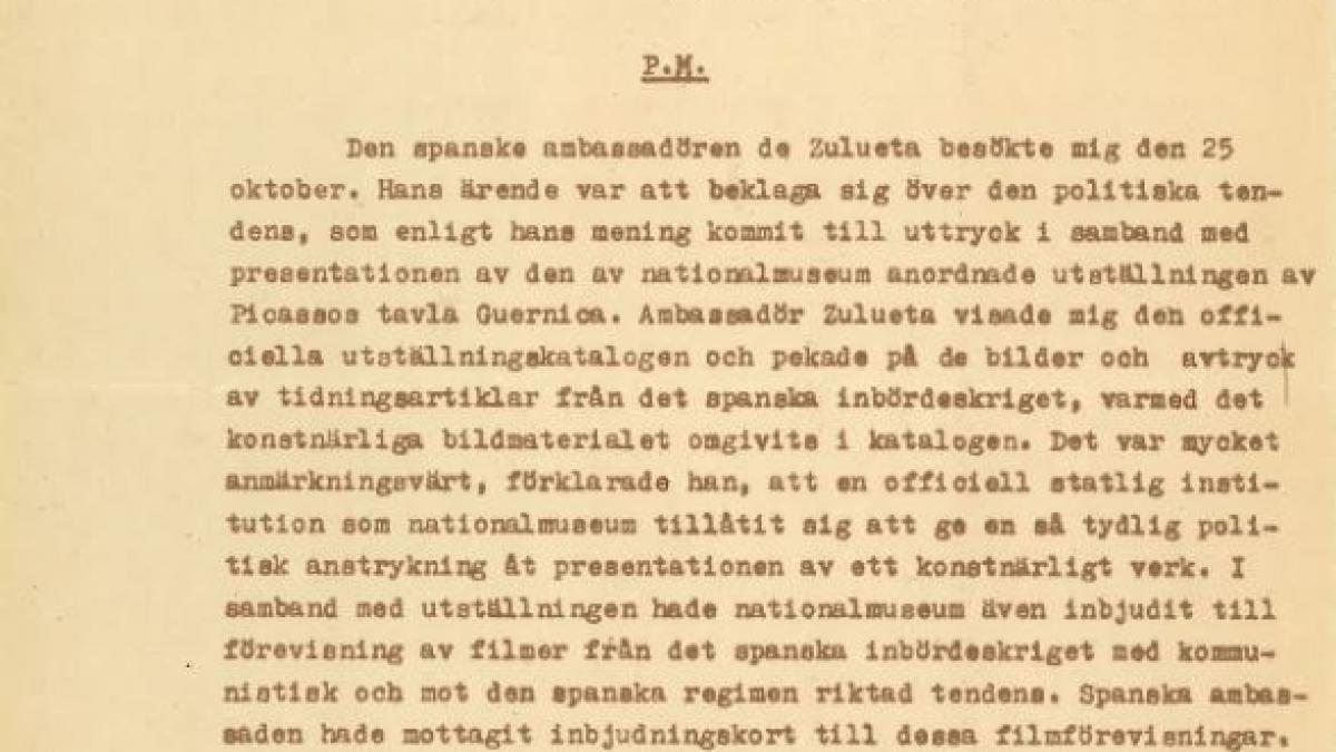 Memos of Swedish Foreign Ministry about the catalogue and exhibition Guernica