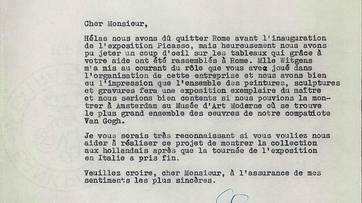 Carta de Willem Sandberg a Eugenio Reale del 5 de mayo de 1953