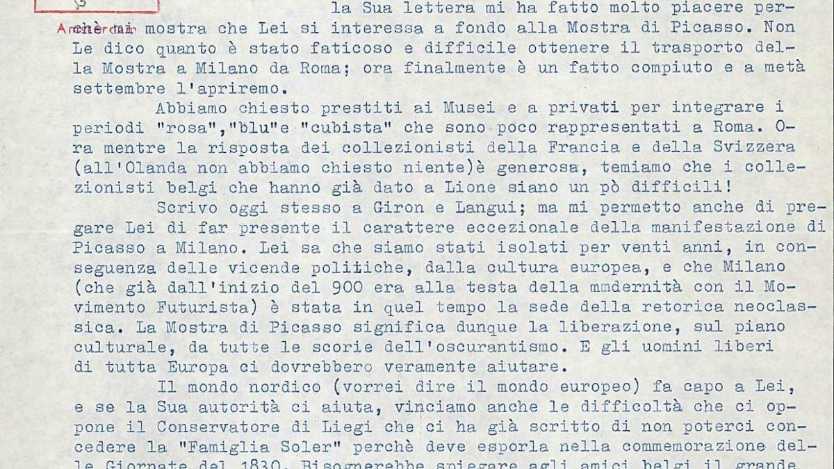 Carta de Fernanda Wittgens a Willem Sandberg del 4 de agosto de 1953