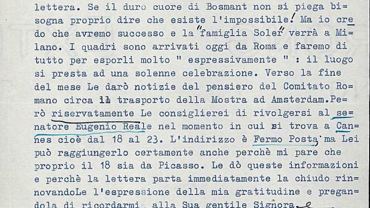 Carta de Fernanda Wittgens a Willem Sandberg del 12 de agosto de 1953