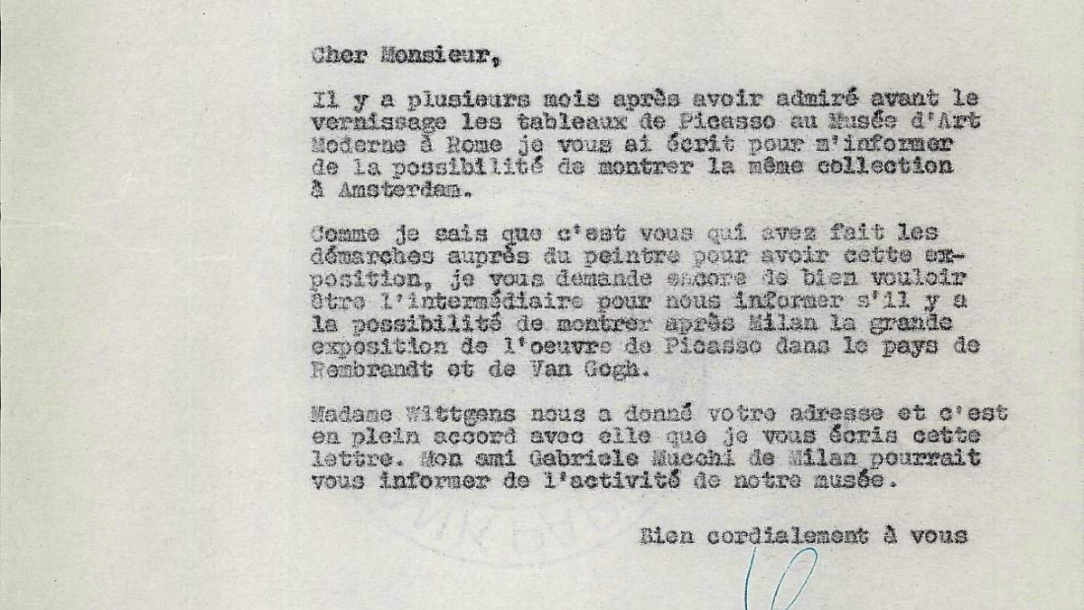 Carta de Willem Sandberg a Eugenio Reale del 18 de agosto de 1953