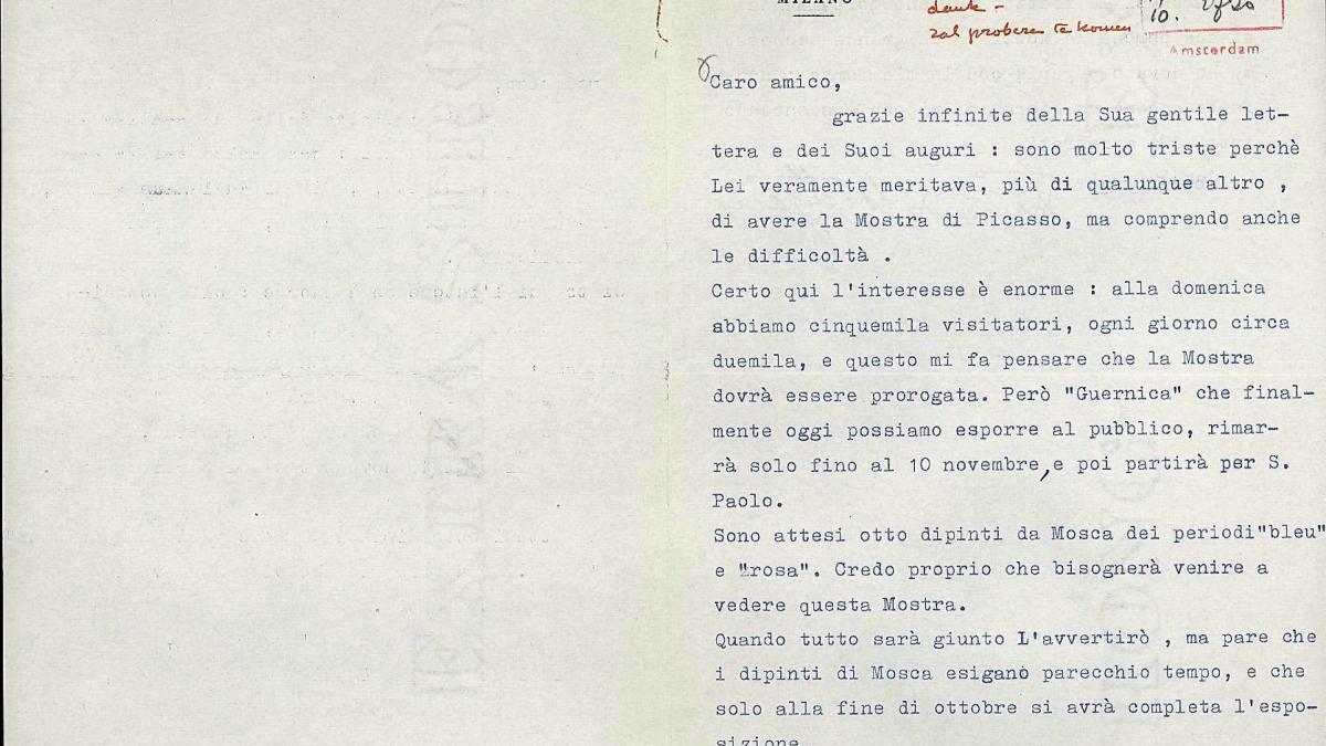 A letter from Fernanda Wittgens to Willem Sandberg, dated 7 October 1953
