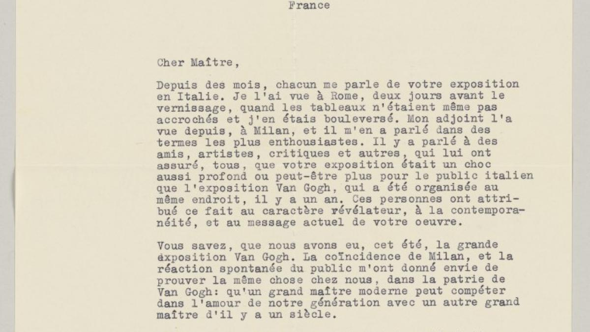 Willem Sandberg's letter to Pablo Picasso, dated 16 November 1953