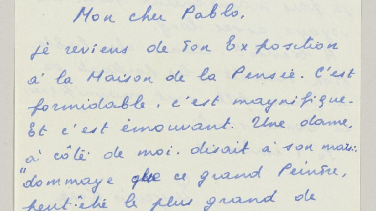 Eugenio Reale's letter Pablo Picasso, dated 15 September 1954