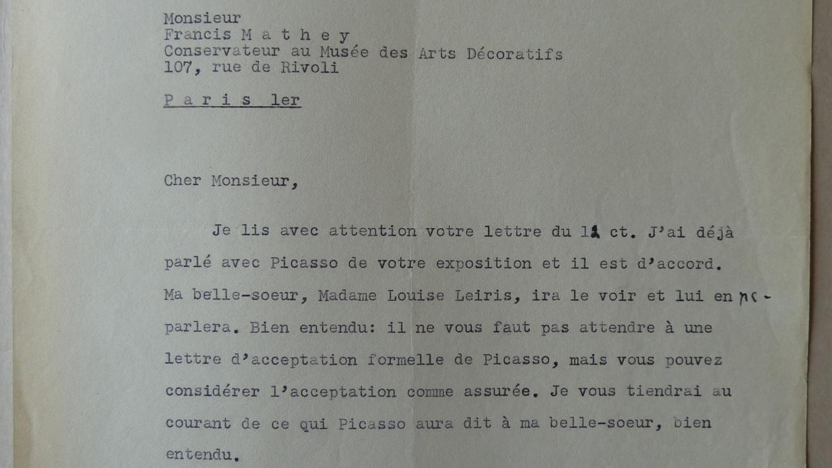 Daniel-Henry Kahnweiler's letter to François Mathey