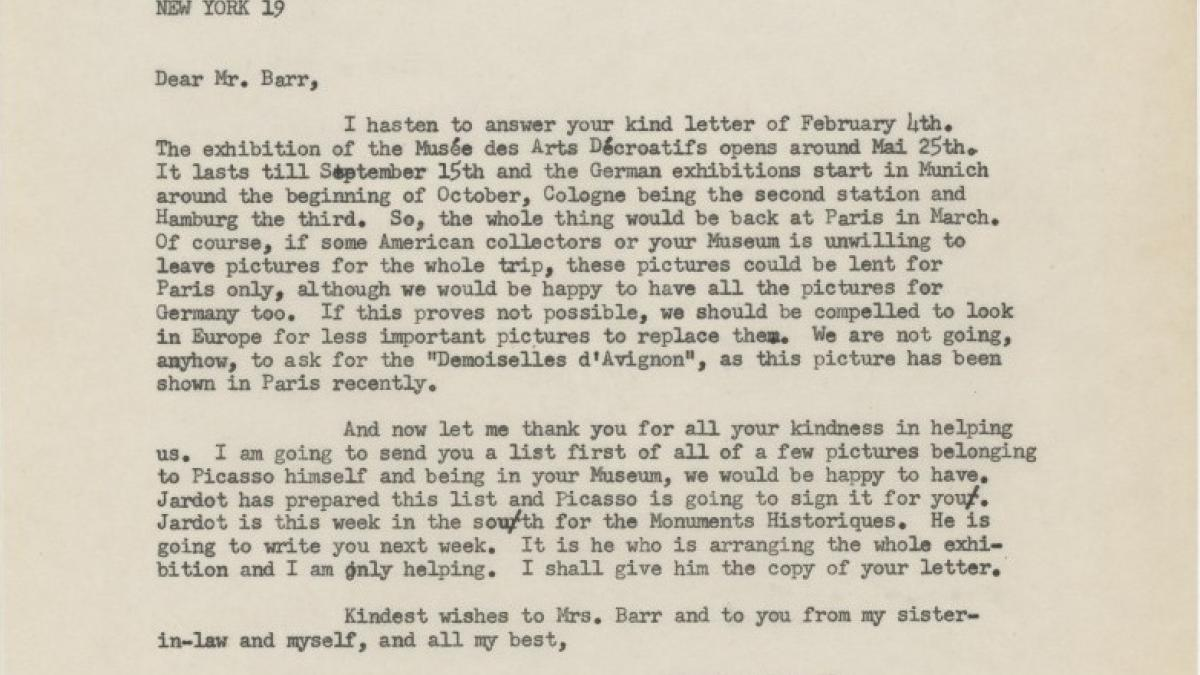 Carta de Daniel-Henry Kahnweiler a Alfred H. Barr Jr. del 10 de febrero de 1955