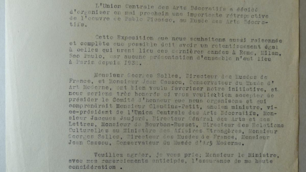 Jacques Guerin's letter to Jean Berthoin